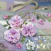 Silk Ribbon Flowers on a Hand Knitted Background with Di van Niekerk