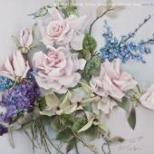 JK 4 Wild Orchids, Violets, Roses & Blue Salvia