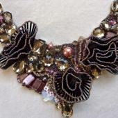 Three Dimensional Roses & Bugle Beads Neck Piece with Karen Torrisi