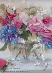 Roses, Fuschias, Hydrangeas and Jasmine available from Australian Needle Arts