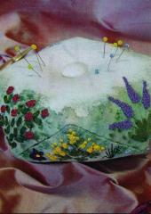Embroidered Pincushion by Helen Dafter