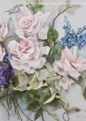 Wild Orchids, Violets, Rose & Blue Salvia available from Australian Needle Arts